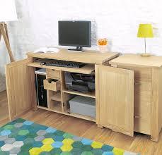 Solid Oak Office Desk Baumhaus Aston Oak Hidden Home Office Amazon Co Uk Kitchen U0026 Home