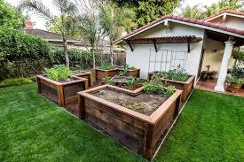 portland raised platform bed landscape rustic with wooden planters