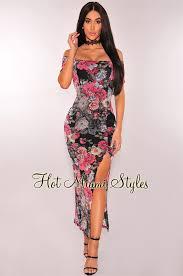 black floral print off shoulder slit maxi dress