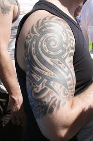japanese tribal sleeve tattoos real photo pictures images and