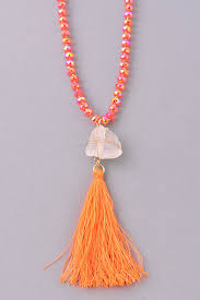 orange stone necklace images Crystal beaded stone tassel pendant necklace bohemian collection jpg