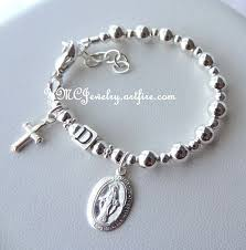 solid sterling silver bracelet images Solid sterling silver baby boy girl baptism personalized rosary jpg
