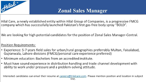 Sample Resume For Zonal Sales Manager by Hilal Care Linkedin