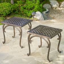 end table set of 2 outdoor end table set of 2 copper cast accent balcony garden patio