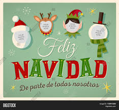 feliz navidad christmas card vintage style family spirit vector photo bigstock