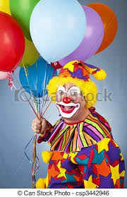 clown balloon happy clown with balloons in front of a blue background stock