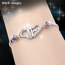 sterling silver crystal heart bracelet images M w 925 sterling silver zircon love in heart heart crystal jpg