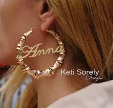 hoop earrings with name gold bamboo earrings with your name door knocker hoop