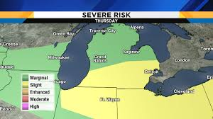 Wisconsin Weather Map by Metro Detroit Weather Severe Storm Threat Increasing