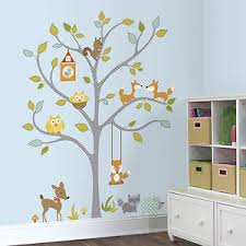 Tree Nursery Wall Decal Woodland Fox Owls Wall Decals Forest Animals Stickers Baby