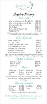hair salons jc penny price list salon service menu w diff haircut options marketing