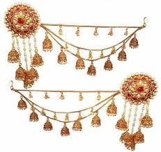 jhumka earrings with chain gold traditional jhumka earring with ear chain for women rs