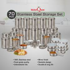 kitchen storage containers in india at best price on naaptol kitchen queen 70 pcs stainless steel storage set