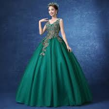 green floral embroidery long ball gown beading dress royal