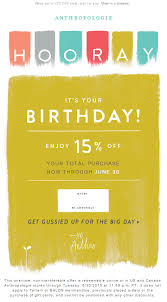 anthro birthday email 2015 email marketing pinterest