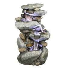 Solar Powered Water Features With Led Lights by Alpine Indoor Outdoor Cascading Rock Waterfall Fountain With Light