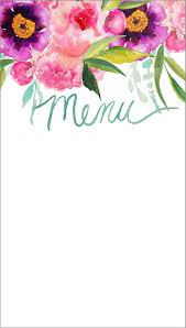 customizable watercolor printable menu