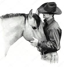 cowboy pencil sketches pencil drawing of cowboy and horse u2014 stock