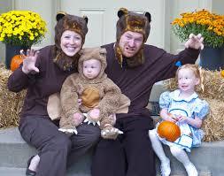 cute family costume goldilocks and the three bears family