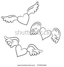 Hearts With Wings - with wings stock images royalty free images vectors