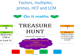 factors multiples hcf u0026 lcm treasure hunt by onitmaths teaching