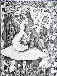 drawn alice wonderland trippy pencil color drawn alice