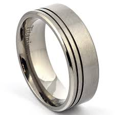 mens titanium wedding band titanium ring grooved wedding band brushed