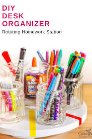 Revolving Desk Organizer by Diy Rotating Desk Organizer For An Easy Homework Station