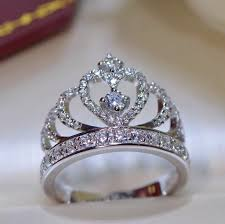 rings images images 925 sterling silver princess crown zircon inlay engagement ring jpg