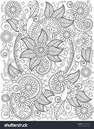 henna coloring pages handdrawn henna abstract mandala flowers paisley stock vector