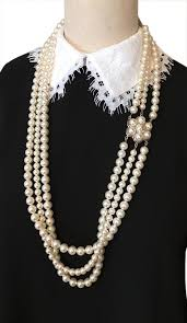 glass pearl necklace images Chanel white triple strands glass pearl pearl flower 37 quot necklace jpg