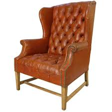 Queen Anne Wingback Chair Leather Vintage Tufted Leather Wing Chair At 1stdibs