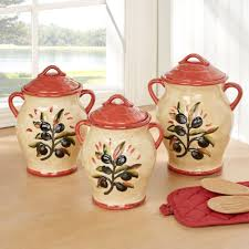 Kitchen Canisters Ceramic Umbria Olive Italian Themed Kitchen Canister Set
