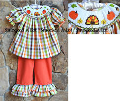 smocked fall thanksgiving turkey pumpkin ruffled set addie