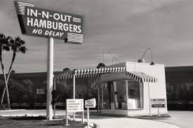 vintage in n out burger stand black u0026 white photograph