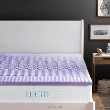 Bed Topper Lucid 2 In Queen Zoned Lavender Memory Foam Mattress Topper