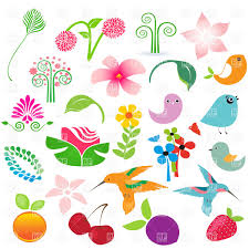 set of cartoon nature elements birds fruits and flowers vector
