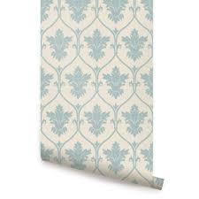 damask wallpaper dusky blue peel and stick