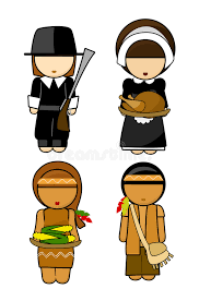 Thanksgiving Pilgrims And Indians Thanksgiving Indians And Pilgrims Couples Royalty Free Stock