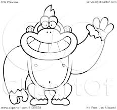 cartoon clipart of a black and white friendly waving gorilla