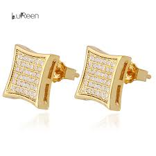 gold earrings in shape lureen hiphop men gold earring micro pave cz rhinestone