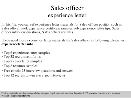 sales officer experience letter