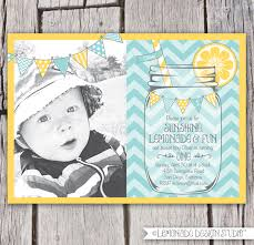 First Birthday Invitation Cards For Boys Boys First Birthday Lemonade Invitation Mason Jar Chevron