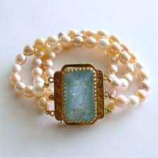 pearl bracelet clasps images Luxe aquamarine clasp peach pink lilac white pearls cuff bracelet jpg