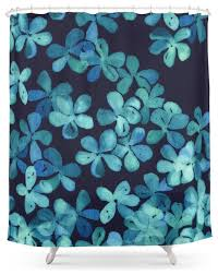 Turquoise Shower Curtain Society6 Hand Painted Floral Pattern In Teal And Navy Blue Shower