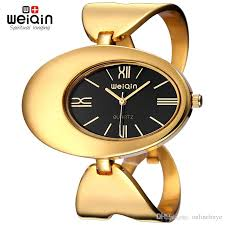 bangle bracelet watches images Weiqin women brand watch waterproof rome style oval gold tone jpg