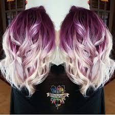 Colorful Hair Dye Ideas Plum Purple Hair Color Base With Billowy White Blonde Hair By