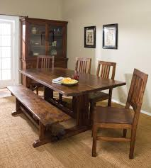 dining room tables with bench rustic style dining room design with thick wood dining table 4