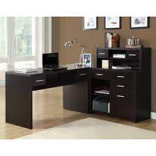 Black Ash Computer Desk Ameriwood L Shaped Desk With 2 Shelves Black Ebony Ash Best Home