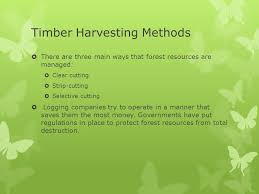 primary resource activities forestry timber harvesting methods